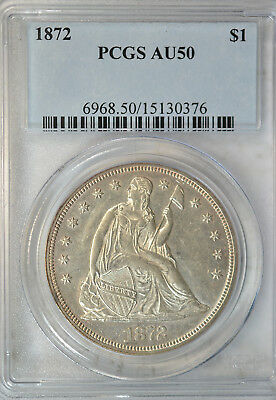 1872 Seated dollar, PCGS AU50