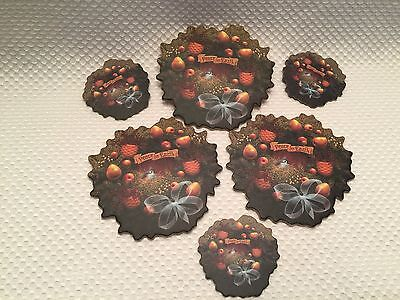 Set of 6 Longaberger Peace on Earth Christmas Wreath Cork Coasters & Magnets