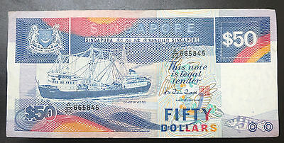 Singapore $50 boat ship series banknote, 1984 LIGHT BLUE VERSION, fifty dollars