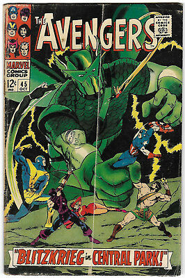 "1967. ""The AVENGERS"". Marvel comic Vol.1 #45. Silver Age. VG."
