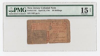New Jersey Colonial Note Fr#NJ-144 April 23, 1761 30 Shillings (PMG) 15 C.F.