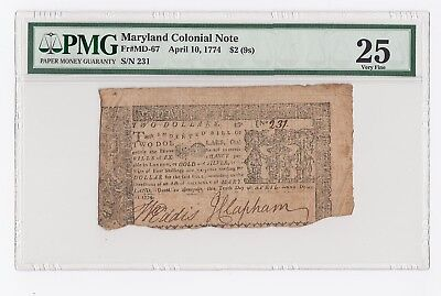 Maryland Colonial Note Fr# MD-67 April 10, 1774 $2 (9s) (PMG) 25 Very Fine