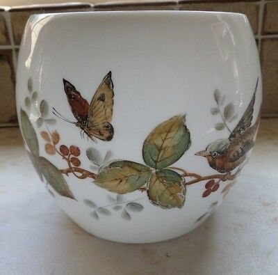 Vintage Gas / Oil Lamp Shade - Hand Painted Birds, Butterflies & Leafs