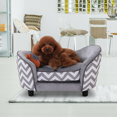 Pet Sofa Bed Warm Plush Dog Sleep Couch Portable Bolster Sides Grey