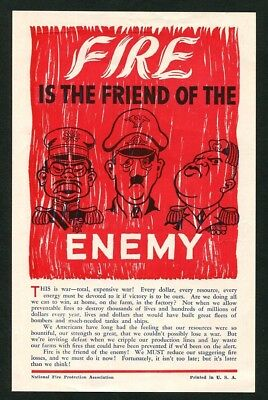 1942 Vintage WWII propaganda handbill Fire is the friend of the enemy