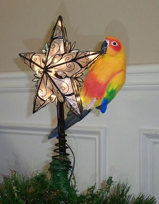 SUN CONURE parrot CHRISTMAS TREE TOPPER AND ACCENT LAMP