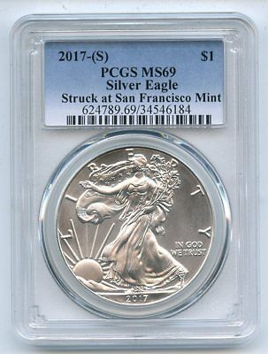 2017 (S) $1 American Silver Eagle Struck at SF Mint PCGS MS69
