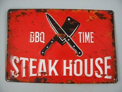 G3776: Nostalgie Blechschild, Steak House, BBQ Time, Kneipen Schild, 20x30
