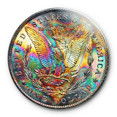 1885 O $1 Morgan Dollar PCGS MS 63 Vibrant Monster Toned Colorful Beauty !