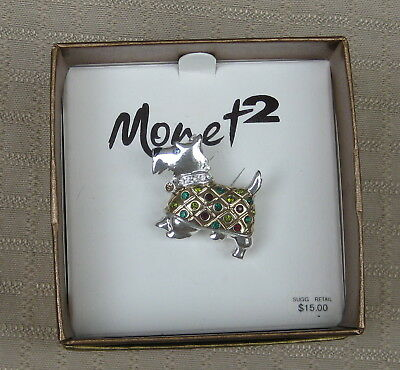 Monet Scottie Dog Pin with Rhinestones and Colored Stones in Box