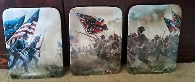 "Set Of 3 Danbury Mint ""Courage in Blue & Gray"" War 8.5""x6"" Collector Plates"