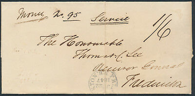 1847 Richibucto NB Stampless Money Letter, Rated 1/6 to Fredericton