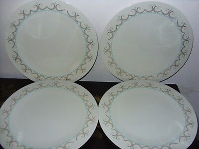 Iroquois Inheritance Cotillion Dinner Plates-Set of 4-Modern-Gold Scrolls Aqua