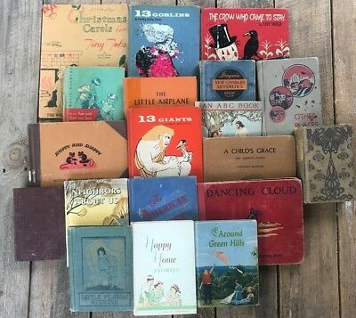 Lot of 18 Vintage Children's Primers Readers Antique School BOOKS