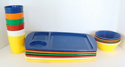 Vintage Fremware Divided Lunch Serving Trays Bowls Cups School Camping Picnic