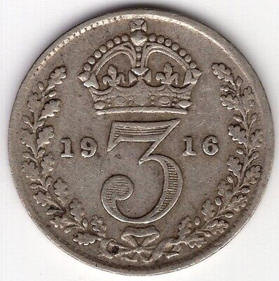 1916 Great Britain Three 3 Pence Sterling Silver George V World Coin