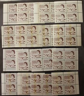 Canada #454p, 454pi, 454piii & 454piv, Lot Of 4 Matched Sets Of 4, Tagged Issues