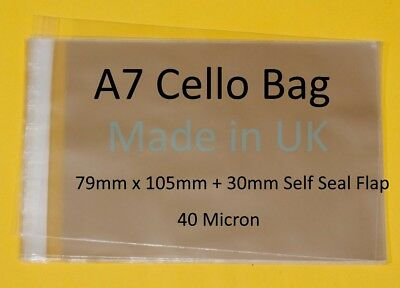A7 - 79mm x 105mm + 30mm Lip - Clear Cello Card Bags - Cellophane Display Bag