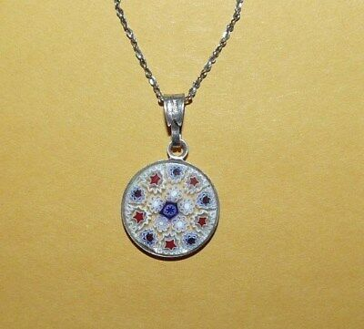 "~VTG~STERLING~SILVER~925~ITALIAN~ART GLASS~""MILLEFIORI""~PENDANT~w/ 16""~NECKLACE~"