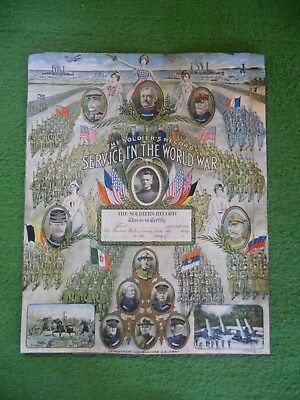 World War I Soldiers Record Service in the War Poster Rare Original 1917 Blank