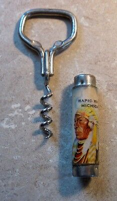 Antique Adv Souvenir Corkscrew Bottle Opener American Indian Rapid River Mich Mi