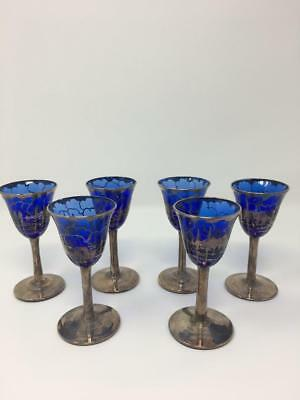 SALE!! *Art Deco Cobalt Blue Glass Rockwell Silver Overlay Ship Cordial Glasses*