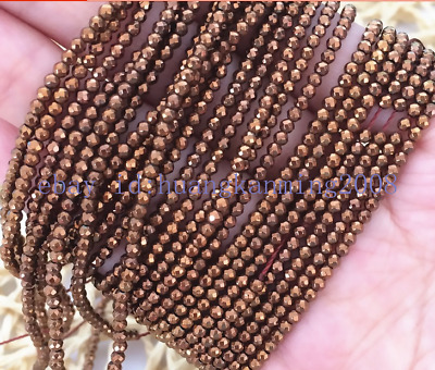 New gold-color hematite natural stone 2mm 3mm round faceted gems loose beads