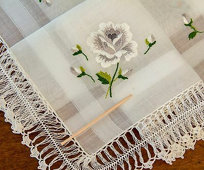 Lovely Vintage Swiss Hanky Fine Embroidered Roses w/ Handmade Lace Border