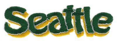 Seattle Script Green Yellow 3.5 Inch Embroidered Hat Shoulder Patch F2D16D