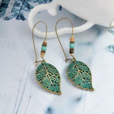 Women's Bohemian Hollow Leaf Earrings Ethnic Long Drop Dangle Green,Jewelry