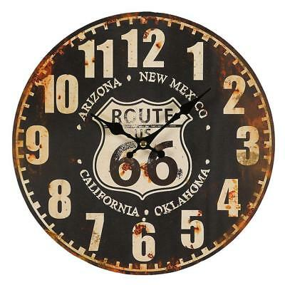 G1247: Route 66 Wall Clock in the Retrostil, Biker Clock, Pubs Clock Us Route 66