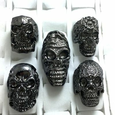 20 Black Plate Skull ring punk alloy metal men's women rings wholesale jewelry