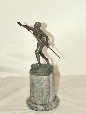 Antique Spelter Figure Of A Hunter On Marble Base