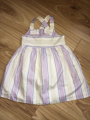 Bnwot Janie And Jack Girls Lilac Blue White Striped Summer Dress 12-18 Months
