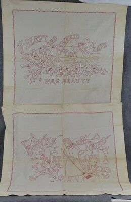 antique red work embroidered  pillow sham pair Beauty and Duty 28 x 30
