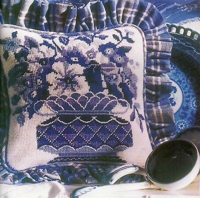 Tapestry chart. Blue and White cushion by Glorafilia