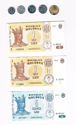 2015 Uncirculated Foreign Paper Money Moldova 1 Leu