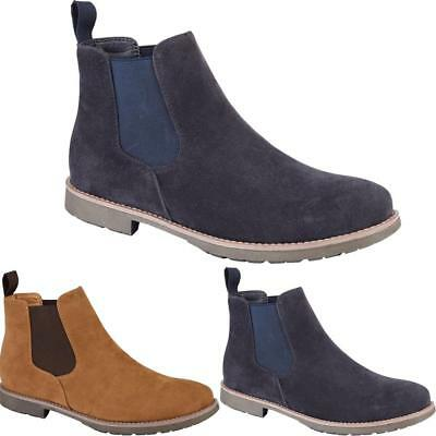 New Mens Smart Faux Suede Slip On Formal Stylish Ankle Chelsea Boots Shoes Sizes