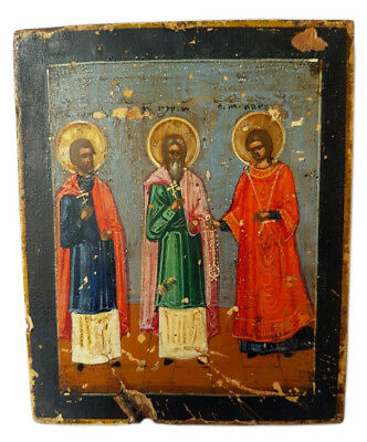 Antique 19th Century Russian Icon of the Holy Martyrs Gurias, Samonas and Abibus