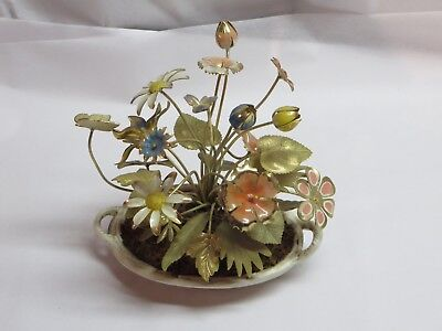 PETITES CHOSES Metal Floral Arrangement Flowers Woven Heavy Weighted Basket