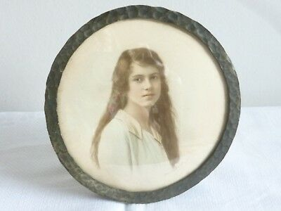 antique arts & crafts Moseley Ware photo frame + photo portrait beautiful girl