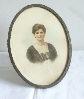 antique arts & crafts Moseley Ware photo frame + photo portrait handsome woman