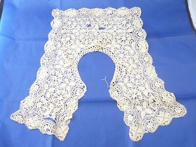 antique 19th century hand made Maltese silk lace collar AF intricate & detailed