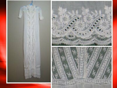 Exceptional Antique 1900s~Baby Dress~Baptismal Christening-Mixed Bobbin Lace
