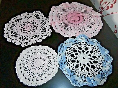 Job Lot Four Vintage  Cotton Hand Worked Crochet Lace Table Mats/doilies
