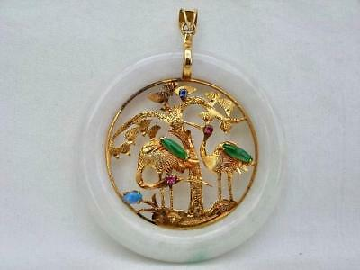 Superb Vintage 14 Carat Gold & Jade Chinese Circular Pendant With Opal.