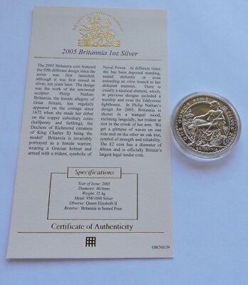 2005 Royal Mint £2 1oz Britannia Silver Uncirculated Bullion Coin With COA