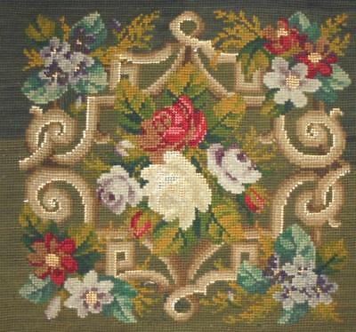 BEAUTIFUL 19th CENTURY BERLIN WOOLWORK PANEL, ROSES, PROJETS REF.