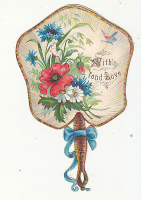 With Fond Love Flowers Fan Embossed Diecut  Vict Card c1880s