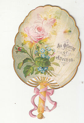 An Offering of Affection Pink Rose Fan Embossed Diecut  Vict Card c1880s